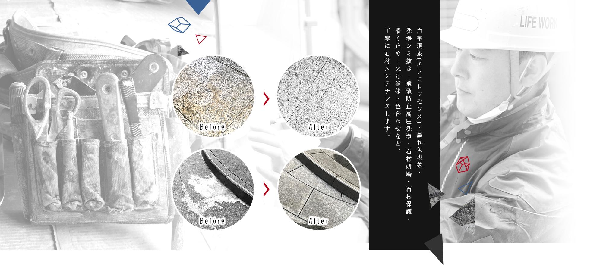 白華現象(エフロレッセンス)・濡れ色現象・洗浄シミ抜き・飛散防止高圧洗浄・石材研磨・石材保護・滑り止め・欠け補修・色合わせなど、丁寧に石材メンテナンスします。